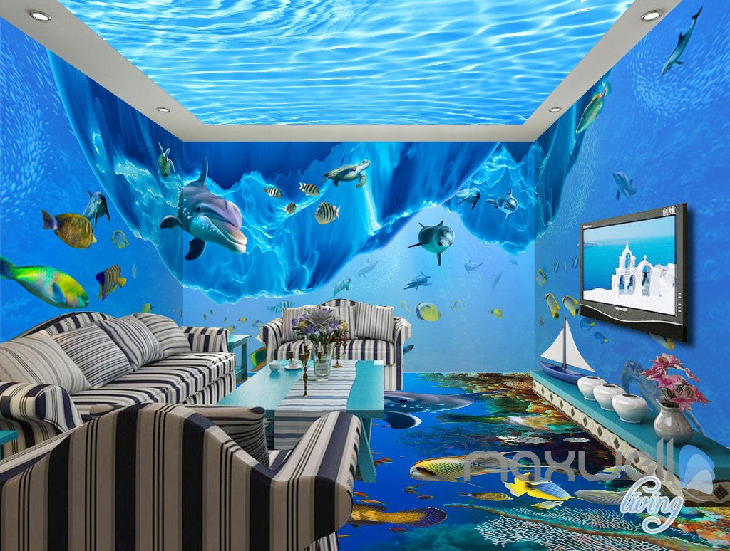3d dophin fish shoal undersea entire living room wallpaper wall 3d dophin fish shoal undersea entire living room wallpaper wall mural art decor prints idcqw
