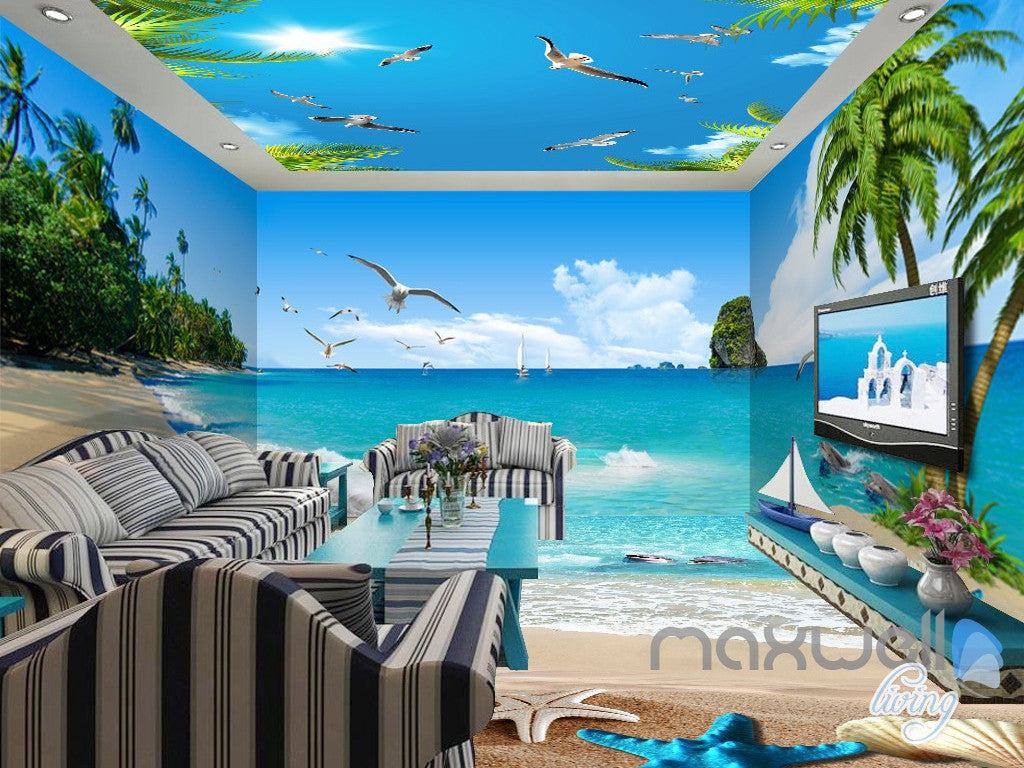 3D Beach Starfish Sea Bird Palm Entire Living Room Wallpaper Wall Mural Art Decor IDCQW-000195