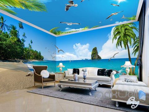 Image of 3D Beach Starfish Sea Bird Palm Entire Living Room Wallpaper Wall Mural Art Decor IDCQW-000195