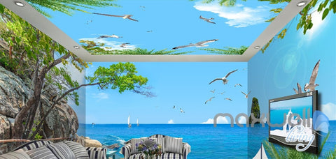 Image of 3D Tree Sea Cliff Dophin Play Entire Living Room Wallpaper Wall Mural Art Decor  IDCQW-000196