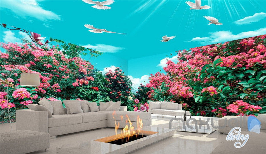 3D Flowers Tree Birds Sunshine Sky Entire Living Room Wallpaper Wall Mural Art Decor IDCQW-000197