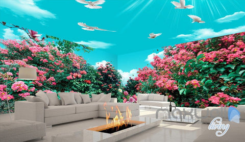 Image of 3D Flowers Tree Birds Sunshine Sky Entire Living Room Wallpaper Wall Mural Art Decor IDCQW-000197