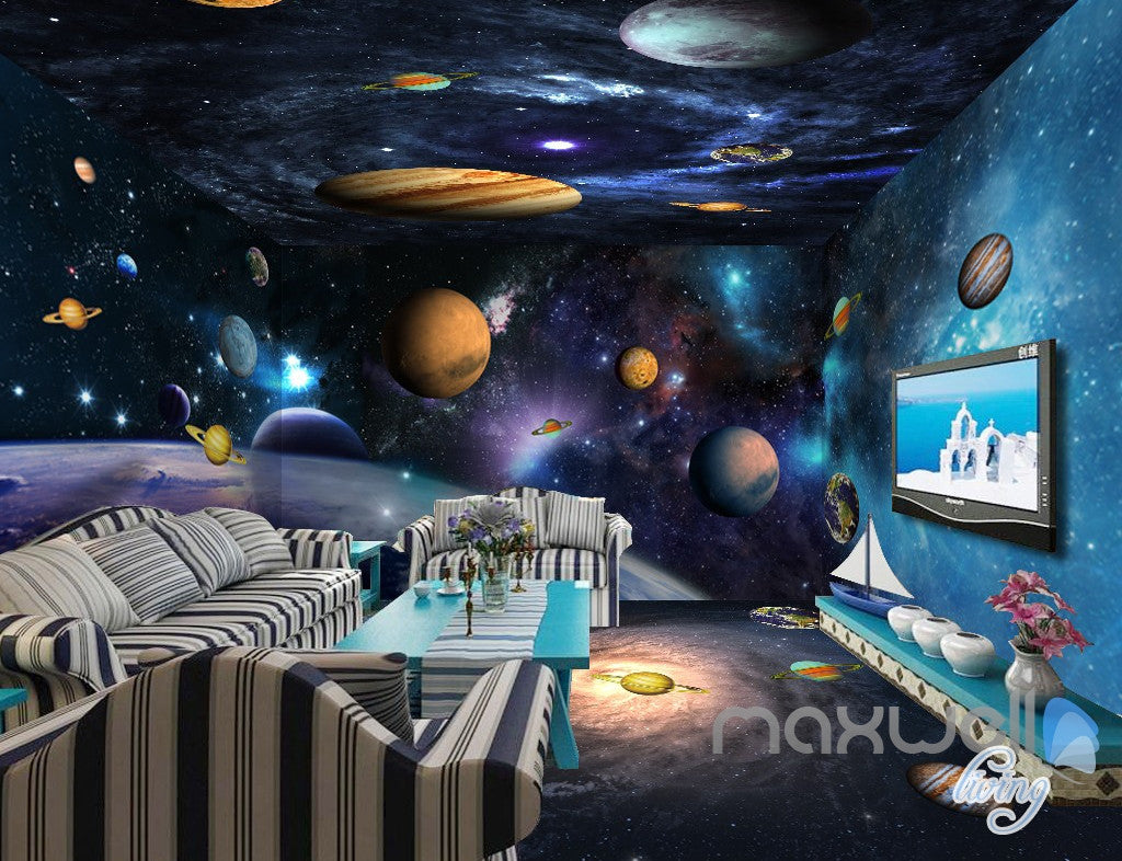 3d Universe Galaxy Planets Sky Entire Living Room Wallpaper Wall Mural Art Decor Prints Idcqw 000198