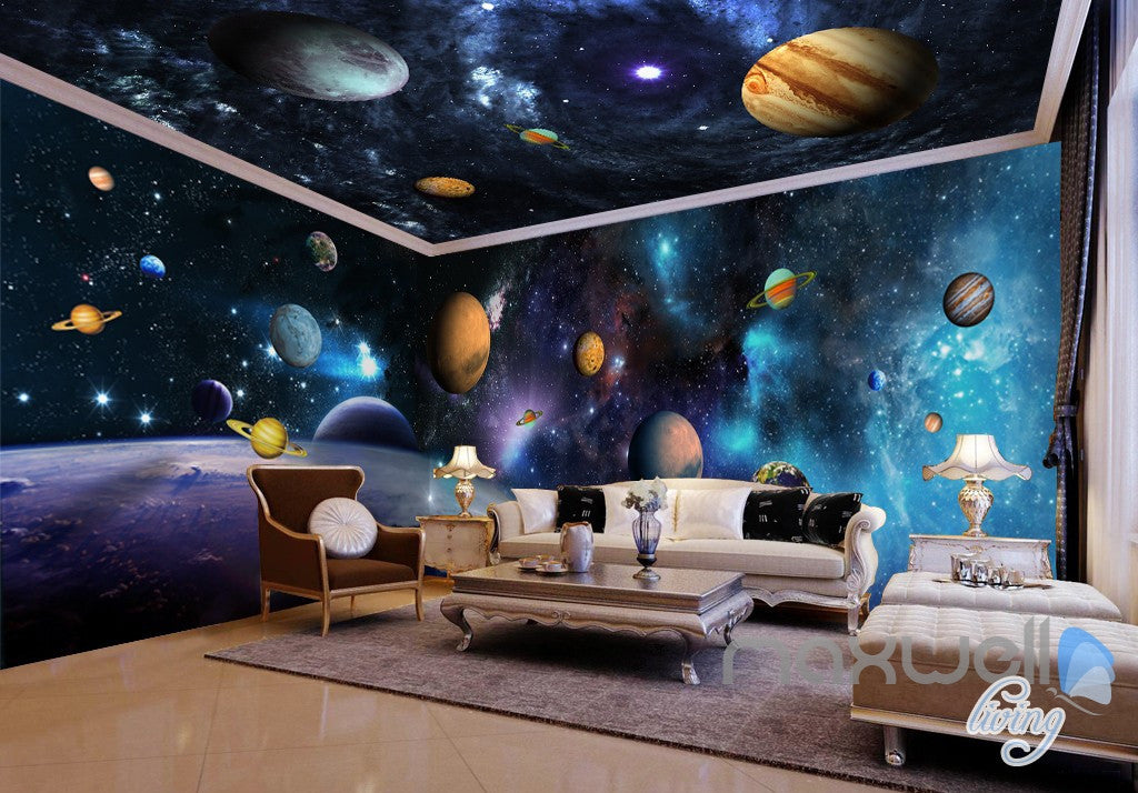Blue Planet Space Galaxy Universe 3D Full Wall Mural Photo Wallpaper Home Decor
