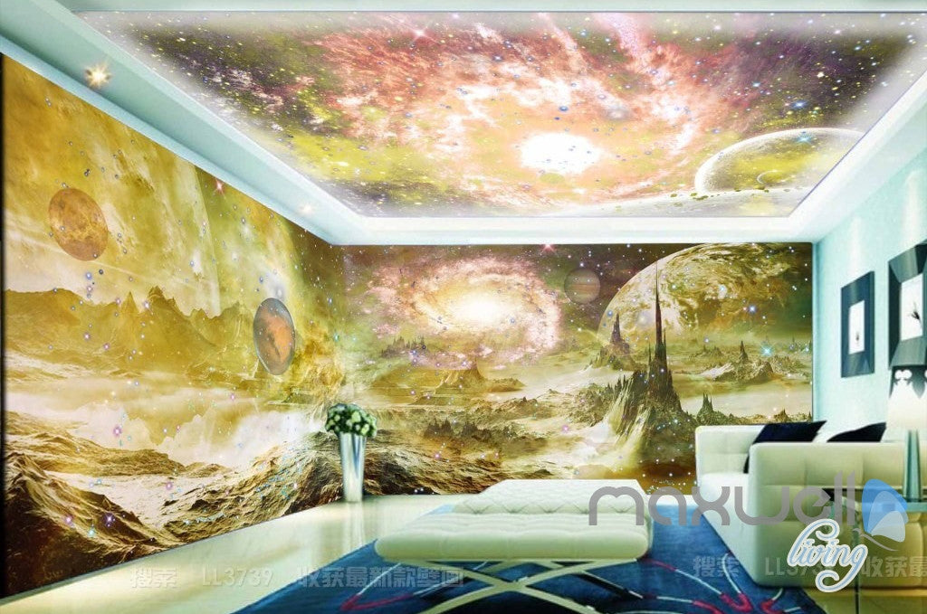 3D Planet Surface Space Sky Entire Living Room Wallpaper Wall Mural ...
