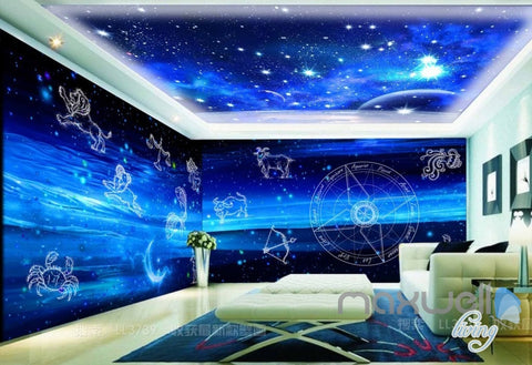 3D Aries Taurus Gemini Leo Virgo Night Sky Entire Room Bedroom Wallpaper  Wall Mural Art IDCQW Part 85