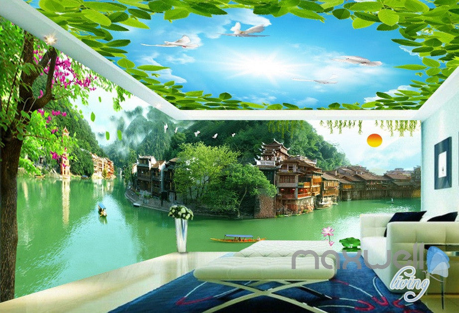 3D Tradional Chinese Building Lake View Entire Room Wallpaper Wall Mural Art Decor IDCQW-000201
