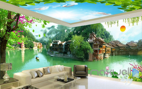 Image of 3D Tradional Chinese Building Lake View Entire Room Wallpaper Wall Mural Art Decor IDCQW-000201