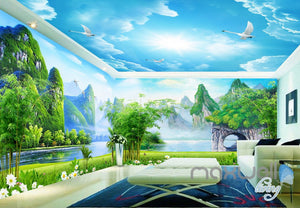 3D Guilin Mountain River Sunny Day Entire Living Room Wallpaper Wall Mural Art Decor IDCQW-000202