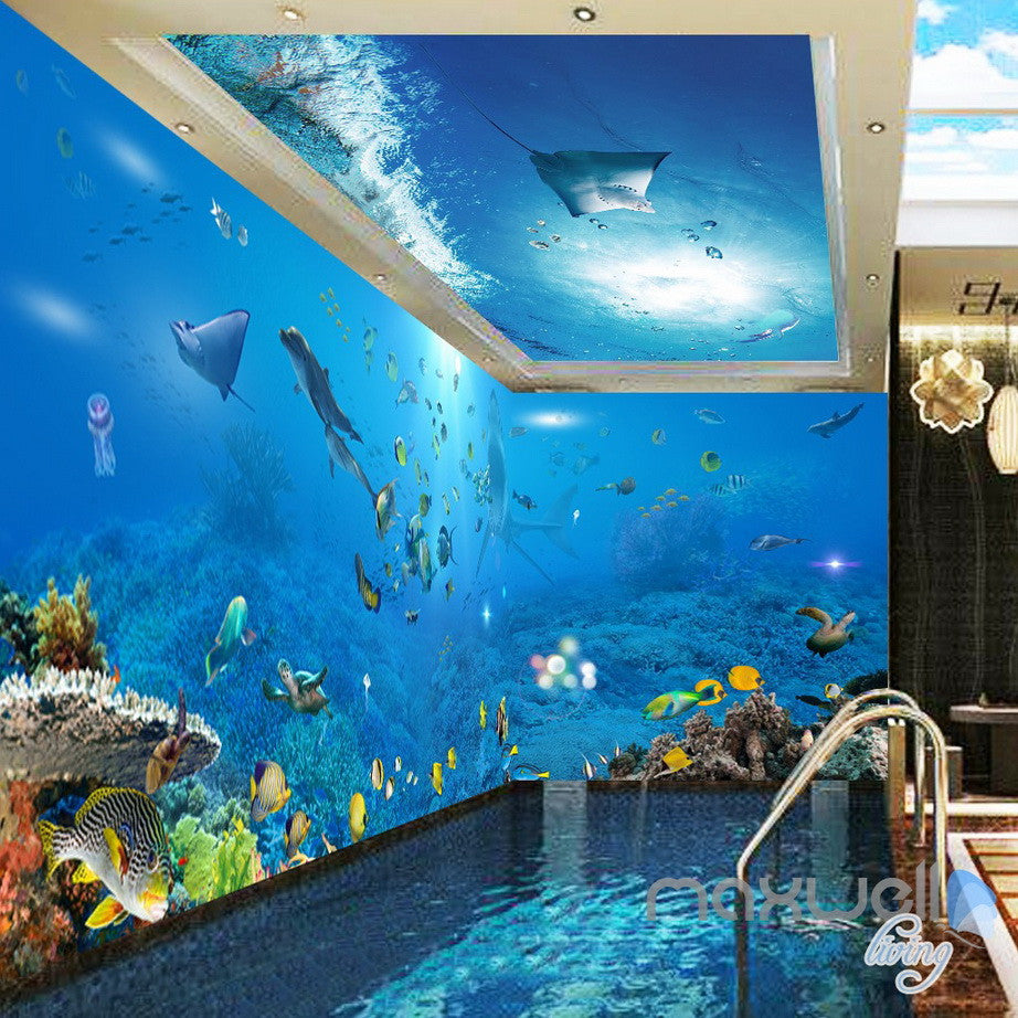 3d underwater view ray fish entire room bathroom wallpaper for Bathroom mural wallpaper