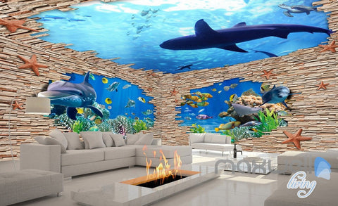 Image of 3D Rock Brick Hole Dophin Fish Entire Room Bathroom Wallpaper Wall Mural Art Decor IDCQW-000204