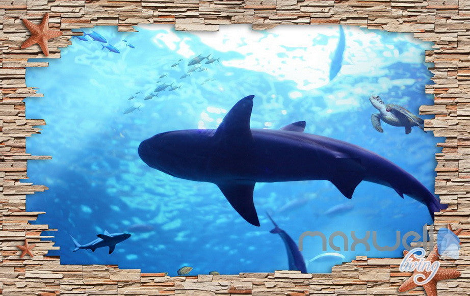 3D Rock Brick Hole Dophin Fish Entire Room Bathroom Wallpaper Wall Mural Art Decor IDCQW-000204
