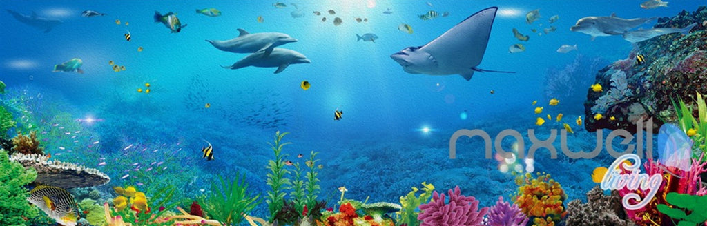3D Ray Coral Reef Fish Entire Room Bathroom Wallpaper Wall Mural Art Decor Prints IDCQW-000205