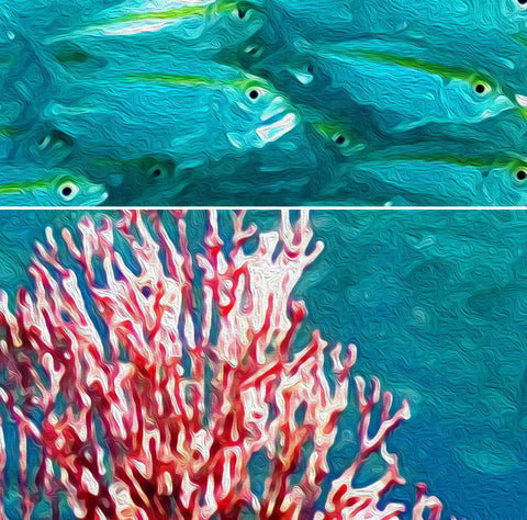 Image of 3D Shoal of Fish Coral Entire Living Room Bathroom Wallpaper Wall Mural Art Decor  IDCQW-000206