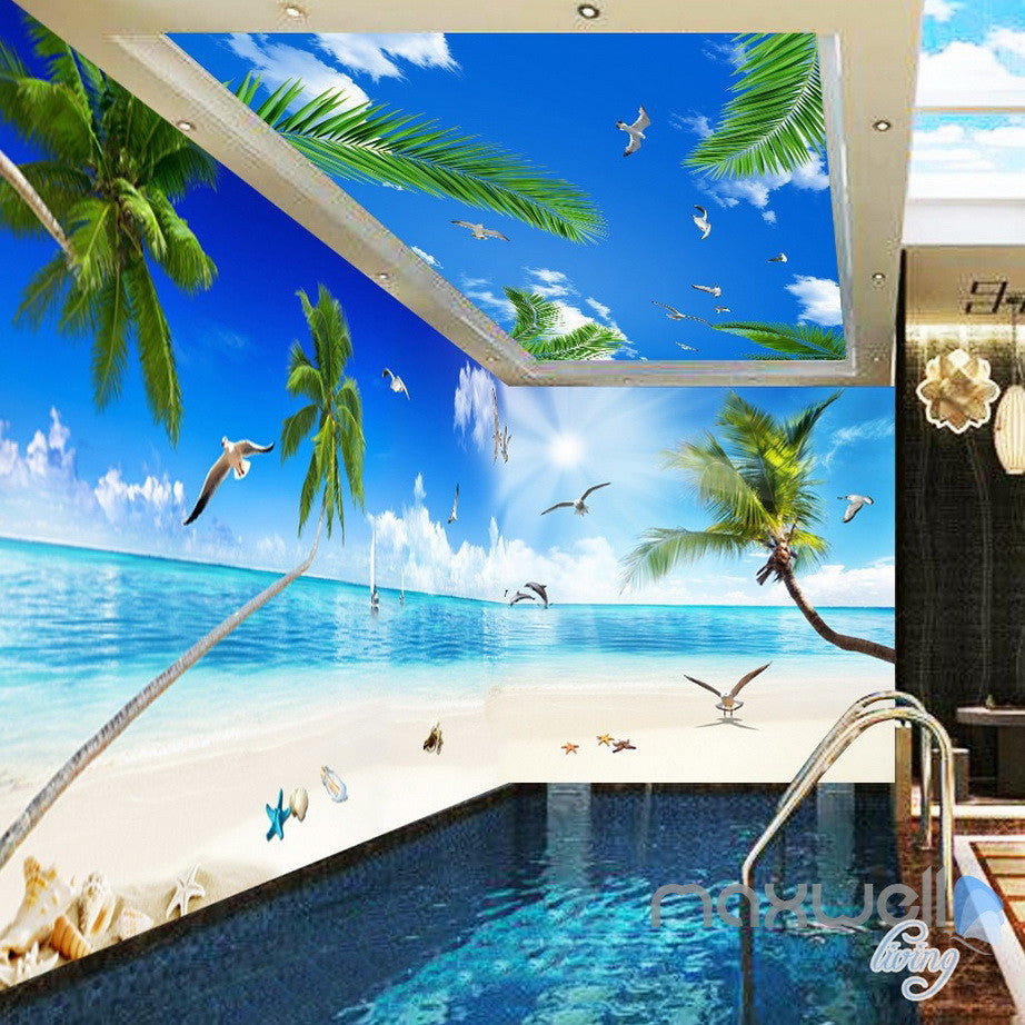 3D Palm Tree Beach View Seagull Ceiling Entire Living Room