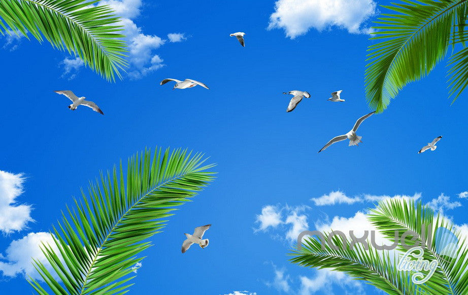3D Palm Tree Beach View Seagull Ceiling Entire Living Room Wallpaper Wall Mural Art Decor IDCQW-000207