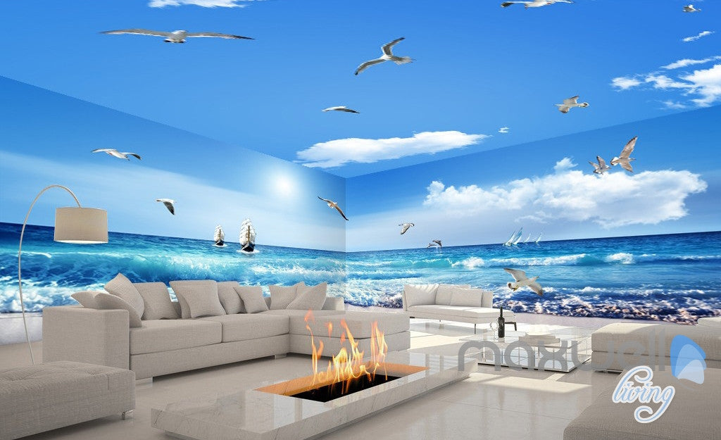 3D Sea Wave Sail Boat Seagull Beach Entire Room Bathroom Wallpaper Wall  Mural Art Decor IDCQW