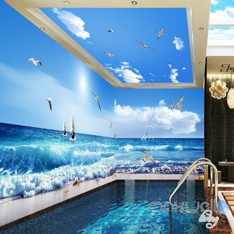 Image of 3D Sea Wave Sail Boat Seagull Beach Entire Room Bathroom Wallpaper Wall Mural Art Decor  IDCQW-000208