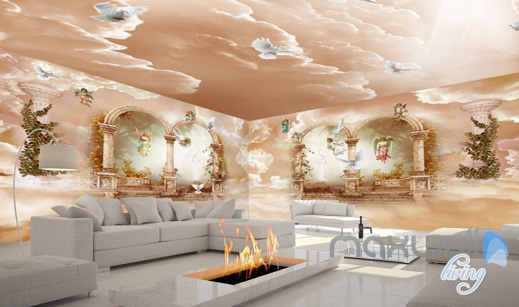 3d classic angel arch polar heaven entire living room for 3d interior wall murals