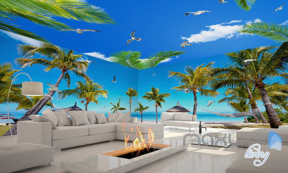 3d fiji island beach palm tree entire living room for Beach mural wallpaper