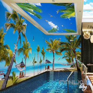 3D Fiji Island Beach Palm Tree Entire Living Room Wallpaper Wall Mural Art Decor IDCQW-000210