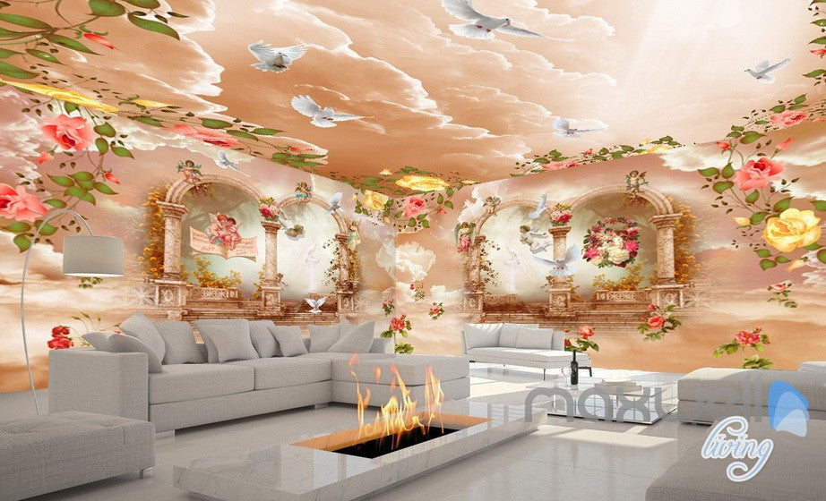 3D Rose Flower Angel Arch Entire Living Room Wallpaper Wall Mural