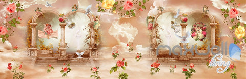 Image of 3D Rose Flower Angel Arch Entire Living Room Wallpaper Wall Mural Art Decor Print IDCQW-000211