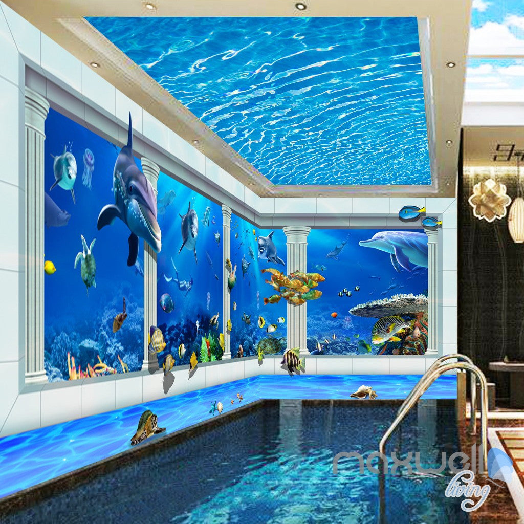 3D Shimmering Water Ceiling Dophin Window View Entire Room Bathroom Wallpaper Wall Mural Art IDCQW-000212