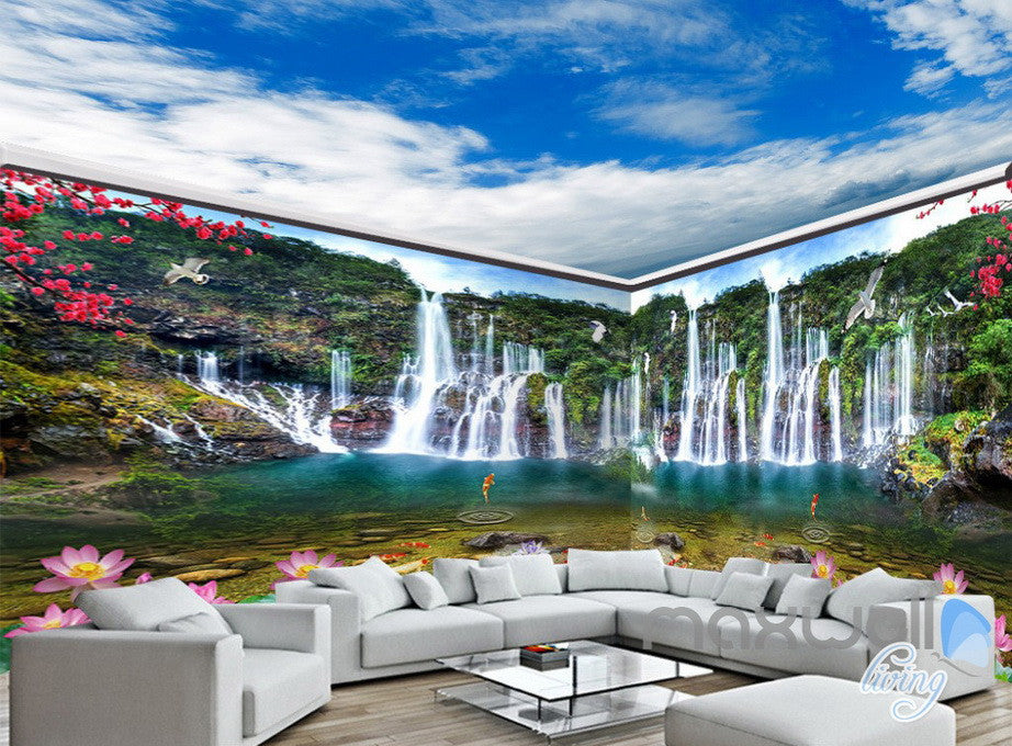 3D Waterfall Lotus Fish Mountain Entire Living Room Wallpaper Wall ...
