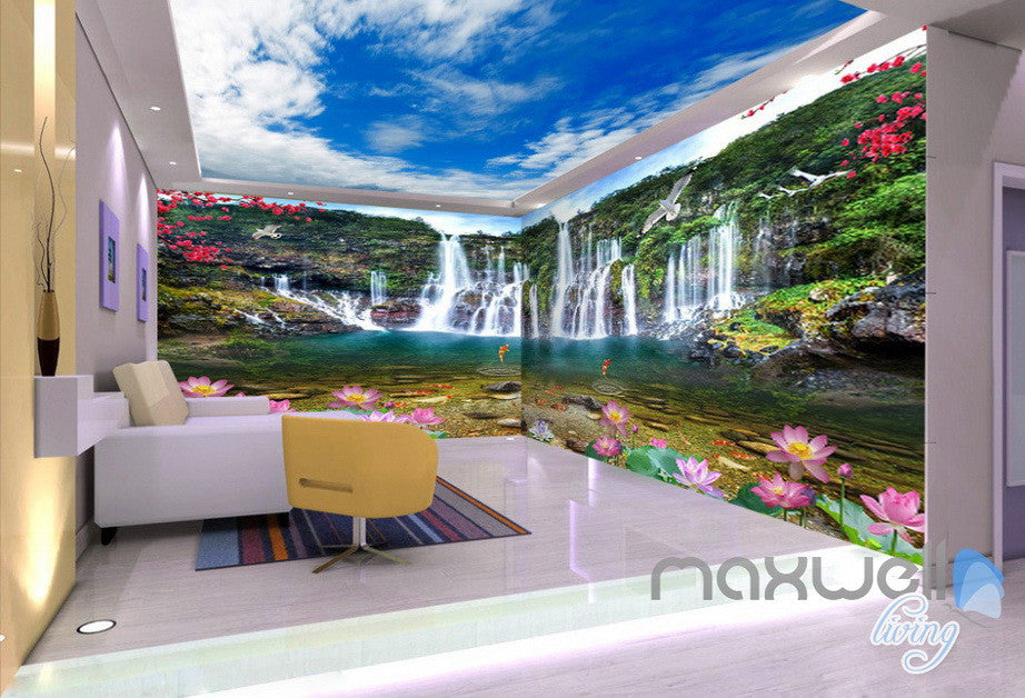 3D Waterfall Lotus Fish Mountain Entire Living Room Wallpaper Wall Mural Art Decor IDCQW-000213