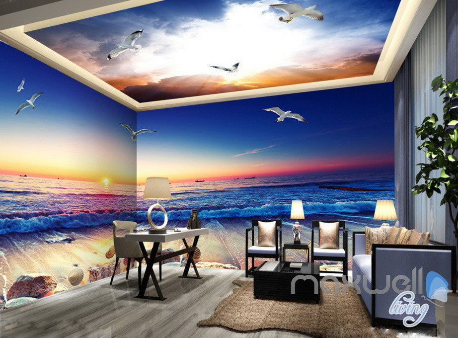 3D Sunrise Beach View Wave Ceiling Entire Room Bedroom ...