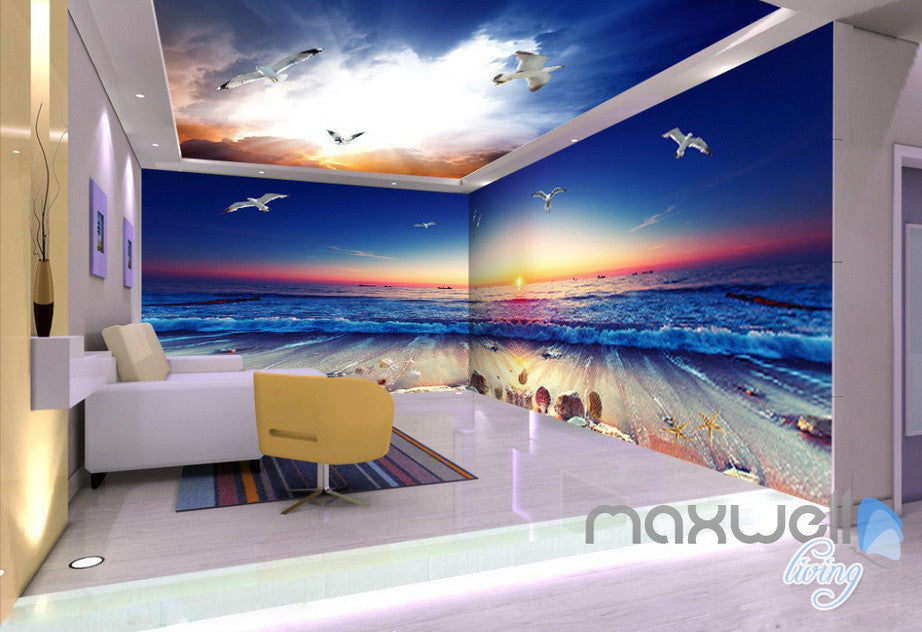 3D Sunrise Beach View Wave Ceiling Entire Room Bedroom Wallpaper Wall Mural Art Decor Prints IDCQW-000215