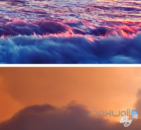 Image of 3D Sunrise Beach View Wave Ceiling Entire Room Bedroom Wallpaper Wall Mural Art Decor Prints IDCQW-000215