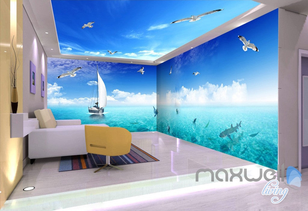 3D Dophins Playing Sail Boat Seagull Ceiling Entire Room Wallpaper Wall Mural Art Decor IDCQW-000216