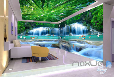 3D Fish Waterfall Tree Top Ceiling Entire Room Wallpaper Wall Mural Art Decor Prints IDCQW-000217
