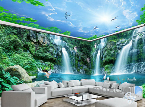 Image of 3D Long Waterfall Mountain Blue Sky Mountain Entire Room Wallpaper Wall Mural Art Decor IDCQW-000218
