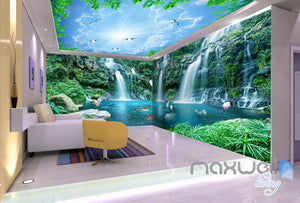 3D Long Waterfall Mountain Blue Sky Mountain Entire Room Wallpaper Wall Mural Art Decor IDCQW-000218