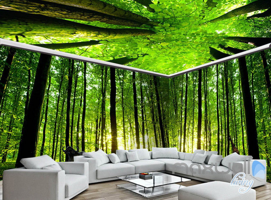 3d animals green forest tree top entire living room for Cheap green wallpaper