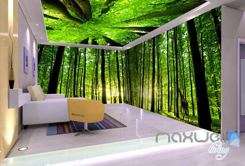 3D Animals Green Forest Tree Top Entire Living Room Wallpaper Wall Mural Art Decor IDCQW-000220