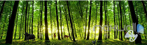 Image of 3D Animals Green Forest Tree Top Entire Living Room Wallpaper Wall Mural Art Decor IDCQW-000220