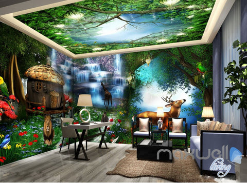 3D Forest Animals Fantacy World Entire Room Bedroom Wallpaper Wall Mural Art IDCQW-000222