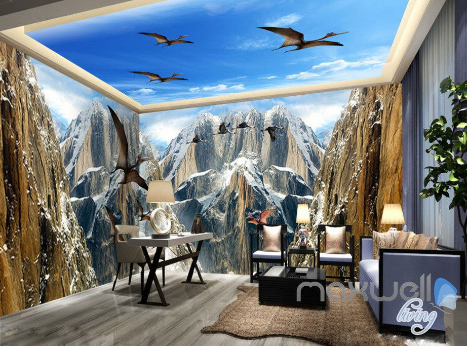 3D Mountain Dragons Blue Sky Ceiling Entire Room Bedroom Wallpaper Wall Mural Art  IDCQW-000223