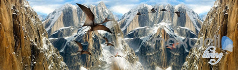 Image of 3D Mountain Dragons Blue Sky Ceiling Entire Room Bedroom Wallpaper Wall Mural Art  IDCQW-000223