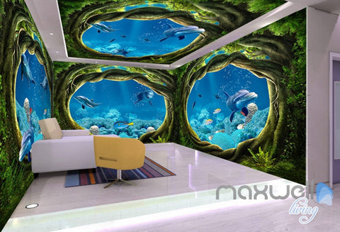 Image of 3D Undersea Cave Hole Dophins Entire Room Bedroom Wallpaper Wall Mural Art IDCQW-000225
