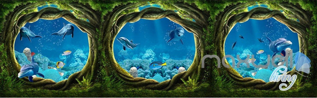 3D Undersea Cave Hole Dophins Entire Room Bedroom Wallpaper Wall Mural Art IDCQW-000225
