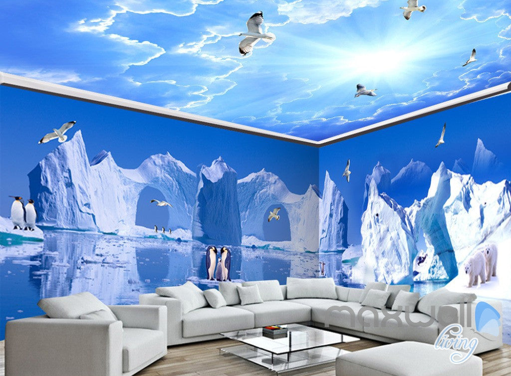 3D Iceberg Penguin Blue Sky Ceiling Entire Living Room Wallpaper ...
