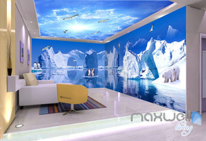 3D Iceberg Penguin Blue Sky Ceiling Entire Living Room Wallpaper Wall Mural Art IDCQW-000226