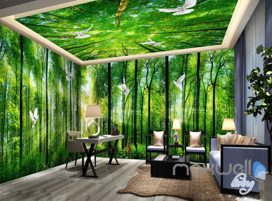 3D Sunrise Forest Deer Entire Living Room Bedroom Wallpaper Wall ...