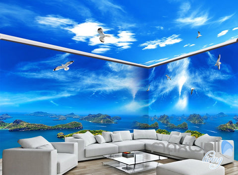3D Island View Segull Blue Sky Ceiling Entire Living Room Wallpaper Wall Mural Art IDCQW-000229