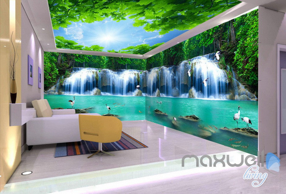 3D Crane Bird Waterfall Forest Entire Living Room Wallpaper Wall Mural Art Prints IDCQW-000231